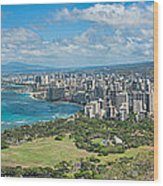 Honolulu From Diamond Head Crater Wood Print