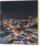 Honolulu Night Panorama Wood Print