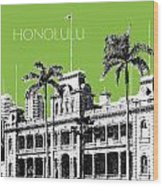 Honolulu Skyline Iolani Palace - Olive Wood Print