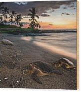 Honu Sunset Wood Print