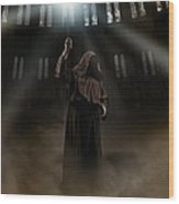 Hooded Man Holding Glowing Wizard Staff  Wood Print