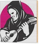 Hooded Man Playing Banjo Guitar Wood Print