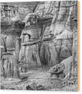 Hoodoos Bisti/de-na-zin Wilderness Monochrome Wood Print