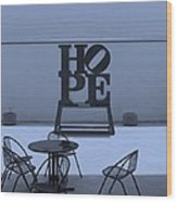 Hope And Chairs In Cyan Wood Print