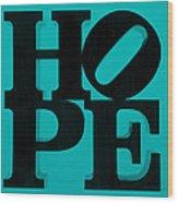 Hope In Light Blue Wood Print