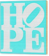 Hope Inverted Aquamarine Wood Print