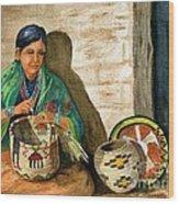 Hopi Basket Weaver Wood Print
