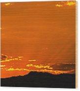 Horetooth Rock At Sunset Wood Print