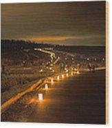 Horicon Marsh Candlelight Snow Shoe/hike Wood Print