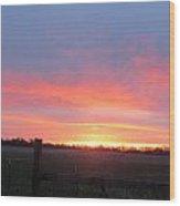 Horizon And Sunrise Wood Print