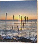 Horizon Sunburst Wood Print