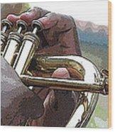 Horn Player 0072 Wood Print