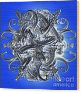 Horned Circle Blue Wood Print