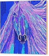 Horse Abstract Blue And Purple Wood Print