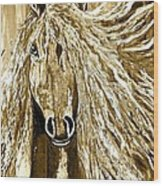 Horse Abstract Neutral Wood Print
