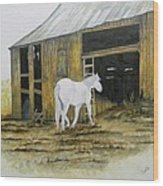 Horse And Barn Wood Print by Bertie Edwards