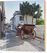 Horse And Buggy Ride St Augustine Wood Print