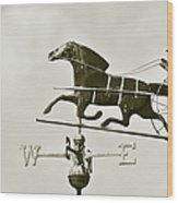 Horse And Buggy Weathervane In Sepia Wood Print