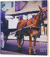 Horse And Carriage In Front Of Lafitte's Blacksmith Shop  Wood Print