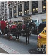 Horse And Carriage Nyc Wood Print