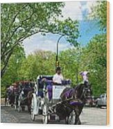 Horse And Carriages Central Park Wood Print