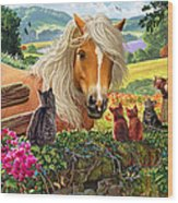 Horse And Cats Wood Print