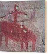 Horse And Rider Cave Painting Wood Print