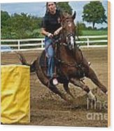 Horse And Rider In Barrel Race Wood Print by Amy Cicconi