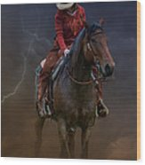 Horse And Rider Wood Print