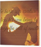 Horse And Rider Silhouette  Wood Print