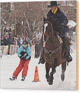 Horse And Skier Slalom Race Wood Print