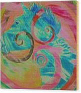 Horse And Spirals In Pink Wood Print