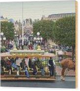 Horse And Trolley Main Street Disneyland 02 Wood Print