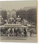 Horse And Trolley Main Street Disneyland Heirloom Wood Print