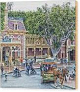 Horse And Trolley Turning Main Street Disneyland 01 Wood Print