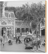 Horse And Trolley Turning Main Street Disneyland Bw Wood Print