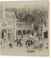 Horse And Trolley Turning Main Street Disneyland Heirloom Wood Print