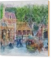 Horse And Trolley Turning Main Street Disneyland Photo Art 01 Wood Print