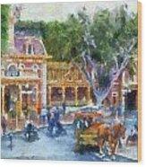 Horse And Trolley Turning Main Street Disneyland Photo Art 02 Wood Print