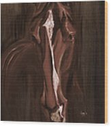Horse Apple Warm Brown Wood Print