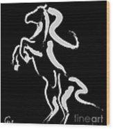 Horse -black And White Beauty Wood Print
