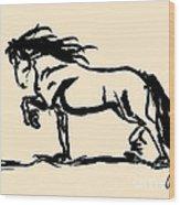 Horse - Blacky Wood Print