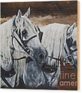 Horse Collar Workers Wood Print