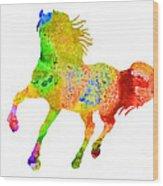 Horse Colorful Silhouette Art Print Watercolor Paintig Wood Print