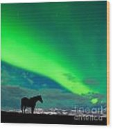 Horse Distant Snowy Peaks With Northern Lights Sky Wood Print