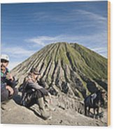 Horse Drivers Near A Volcano At Bromo Java Indonesia Wood Print