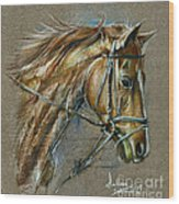 My Horse Face Drawing Wood Print
