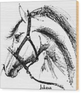 Horse Face Ink Sketch Drawing Wood Print