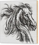 Horse Face Ink Sketch Drawing - Inventing A Horse Wood Print