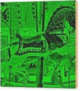 Green Horse E Wood Print